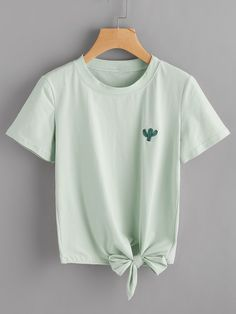 Cactus Embroidered Knot Side Tee -SheIn(Sheinside)
