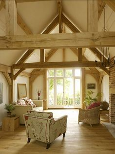 Barn conversion. I like this but it's a nightmare to heat, with lots of lost space and the spiders might have a field day dropping down on you and that's without the problems decorating - scaffolding towers me thinks.