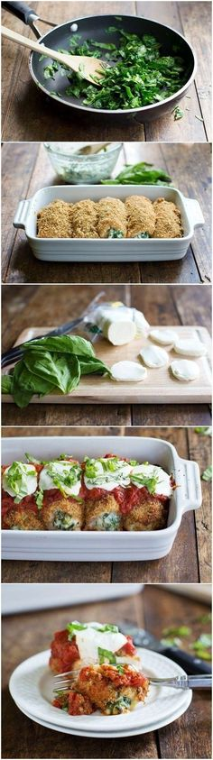 Baked Mozzarella Chicken- use GF bread crumbs and this would be magical!