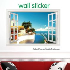 Check lastest price 2017 new fake window wallpaper ,decorative wall stickers,large home decoration,Summer style,free shipping just only $3.46 with free shipping worldwide  #wallstickers Plese click on picture to see our special price for you