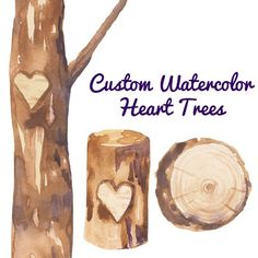 Custom Watercolor Heart Trees Carving Clipart Wedding Invites Romantic Clip Art Rustic Weddings