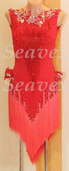 Women Ballroom Latin Rhythm Salsa Rumba Dance  Dress US 4 UK 6 Two Red Fringe #Seavex
