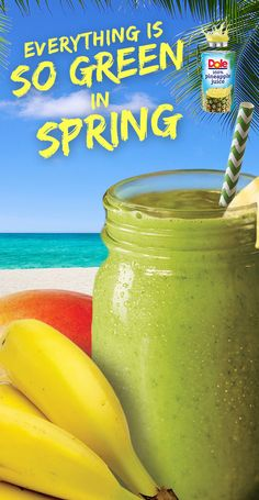 DOLE® Baby Kale Island Smoothie. Get your morning going with this exotic energizer made with DOLE® Canned 100% Pineapple Juice. Check out the full recipe! #KingofJuices