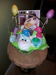 Ladies Mary Kay Easter basket featuring Mary Kay lipstick, nail polishes and candy!