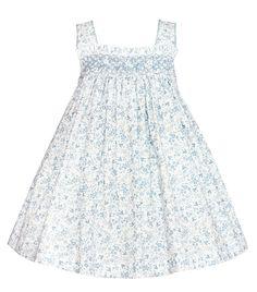 Petit Bebe Toddler Girls Blue Birds Print Smocked Sun Dress