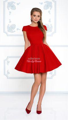 f13bb870e4 Sukienkowo.com - NATALIA - Rozkloszowana klasyczna sukienka z rękawkiem  czerwona