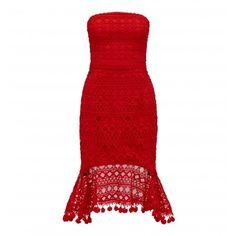 Donna Kırmızı Straplez Dantel Elbise Görseli