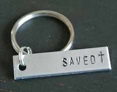 Saved Cross Metal Stamp Keychain