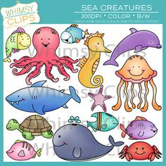 The sea creatures clip art pack features 14 bright and fun ocean animals. There are 28 image files in this pack per png and jpg formats, which includes 14 color images and 14 black and white images. All images are 300dpi for better scaling and printing. $