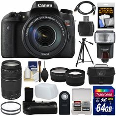Canon EOS Rebel T6s Wi-Fi Digital SLR Camera & 18-135mm IS STM & 75-300mm III Lens + 64GB Card + Case + Grip + Tripod + Flash + Tele/Wide Lens Kit. KIT INCLUDES 17 PRODUCTS -- All BRAND NEW Items with all Manufacturer-supplied Accessories + Full USA Warranties:. [1] Canon EOS Rebel T6s Wi-Fi Digital SLR Camera & EF-S 18-135mm IS STM Lens + [2] Canon EF 75-300mm III Lens + [3] Canon 100ES Camera Case + [4] Transcend 64GB SDXC 300x Card +. [5] Vivitar 58mm UV Glass Filter + [6] Vivitar 67mm…