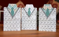 Bow builder punch and hexagon hive thin lit from Stampin' Up! is useful for making ties on these cute cards for men - teacher appreciation in this case.