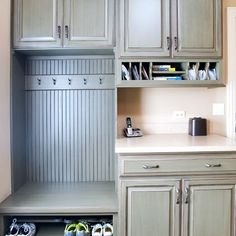 in mudroom would like a small counter with drawers for mail supplies/ process kids' school paperwork; calendar etc. Also would be great if we could control phone/ security system and Sonos music system from here!!!! No chair, just counter and many outlets.