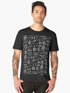 T-shirt premium 'Conspiracy pattern' par Laura Frère Geometric Pattern Design, Graphic, Tshirt Colors, Chiffon Tops, Looks Great, Fitness Models, How To Draw Hands, T Shirt, Sweatshirts