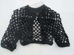 Girl's Black Bolero Crocheted by SuzannesStitches, Girls 6 - Juniors 9/10 Bolero, Girl Black Bolero, Teen Crop Top Sweater, Girl Black Shrug by SuzannesStitches on Etsy