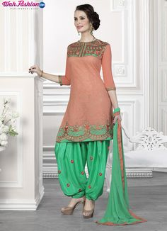 http://www.wahfashion.com/shop-gracefull-coral-orange-and-green-patiala-suit.html SHOP NOW GRACEFUL CORAL ORANGE AND GREEN PATIALA SUIT WORTH Rs1,429.00 www.wahfashion.com Become a fashion diva with this Graceful Coral Orange and Green Patiala Suit. Crafted with embroidery on fancy cotton and chanderi fabric. Available with matching santoon bottom and matching dupatta. Casual patiala suit are comfortable and simple to care. Free Shipping In India