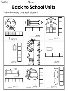 Back to School Units >> Measure Back to School objects using units >> Part of the Back to School Kindergarten Math Worksheets packet by United Teaching