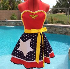 Wonder Woman Inspired Sassy Apron, Cosplay, Girls and Womens Aprons, Plus Sizes, Pin Up, Star Pocket, Retro Chic, Americana,Costume Party