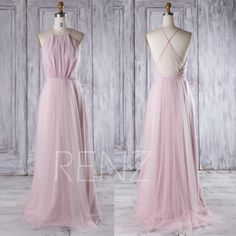 2016 Blush Pink Mesh Bridesmaid Dress Long, Spaghetti Straps Wedding Dress, A Line Prom Dress, Open Back Evening Gown Floor Length (CS012) by RenzRags on Etsy https://www.etsy.com/listing/480743367/2016-blush-pink-mesh-bridesmaid-dress