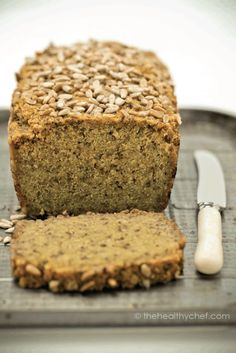 gluten free Quinoa + Chia Bread - the healthy chef - can be used for pizza (pumpkin, sundried tomatos, ricotta ) (Vegan Gluten Free Pizza) Gluten Free Baking, Gluten Free Recipes, Vegan Recipes, Quinoa Flour Recipes, Quinoa Desserts, Soup Recipes, Healthy Bread Recipes, Dinner Recipes, Gluten Free Breakfasts