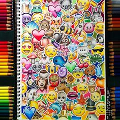Repost of my emoji drawing bc I didn't like the last pic You're probs bored of this by now but it's one of my fave drawings bc it's so colourful What is your favourite emoji in this pic? Cute Doodle Art, Doodle Art Drawing, Cute Art, Emoji Drawings, Art Drawings Sketches, Easy Drawings, Dibujos Zentangle Art, Art Graphique, Mandala Art