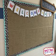 Back to School bulletin board! Love the burlap and Welcome Back banner. I would really like to do this in the hallway before open house if I have time. Bulletin Board Paper, Back To School Bulletin Boards, Classroom Bulletin Boards, New Classroom, Classroom Design, Classroom Displays, Classroom Themes, Classroom Organization, Bulletin Board Borders