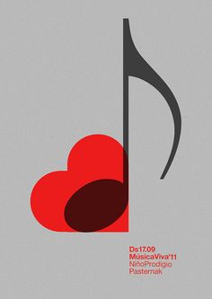 "Red and black ""I love music"" - Poster by MARIN DSGN"