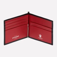 Ettinger London - Luxury Leather Goods - Bridle Hide Money Clip Wallet in Black & Red