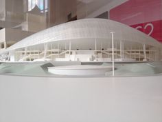 Architectural model of Fisht Stadium, Sochi, Russia. This fantastic project is by Populous, the people behind the London Olympic Stadium.  www.architecture.com/BritsExhibition