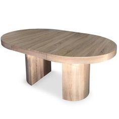 Table ronde extensible Suzie chene clair avec sa rallonge centrale