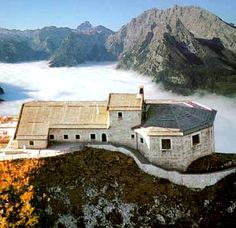 The Kehlsteinhaus - 'Adlerhorst' (the Eagle's Nest) is a chalet-style structure erected on a subpeak of the Hoher Göll known as the Kehlstein.