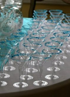 breakfast at tiffanys themed party martini glasses with blue sugar rims holidays-parties-gifts-oh-my