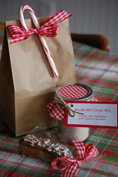 Festive and simply presented Chocolate Peppermint dipped Biscotti and a Mocha Hot Chocolate Mix