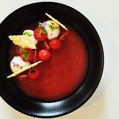 Gazpacho with tomatoes and fresh mozzarella. Served with crunchy Parmesan extra virgin olive oil and Thai basil. Inspired by @royalebrat. #instafood #TheArtOfPlating #foodporn #foodstagram  #vegetarian #kitchen #gastronomy #chef #chefstalk #chefsroll #foo