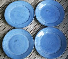 Discounted SECONDS Set of Four Ceramic Dinner Plates by sheilasart