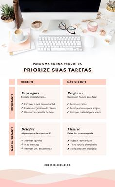 Produtividade com Matriz de Eisenhower Content Manager, Nail Designer, Go For It, Personal Organizer, Instagram Blog, Life Organization, Personal Branding, Girl Boss, Digital Marketing