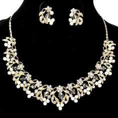 White Pearl & Gold Crystal Necklace Set Elegant Bridal Jewelry