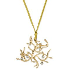 """Beauty and the Beast """"Tree of Life"""" Crystal Drop Cord Pendant Necklace... (€10) ❤ liked on Polyvore featuring jewelry, necklaces, gold, strand necklace, crystal pendant necklace, crystal strand necklace, crystal jewellery and crystal stone necklace"""