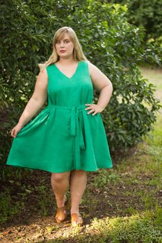 Idle Fancy: Papercut Sway Dress in emerald green linen
