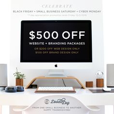 Happy #CyberMonday from our small business to yours! Celebrate with $500 off our #website + #branding packages for #smallbusiness #entrepreneurs. Our promo is available for just one week, so visit www.doodledog.com while it lasts!