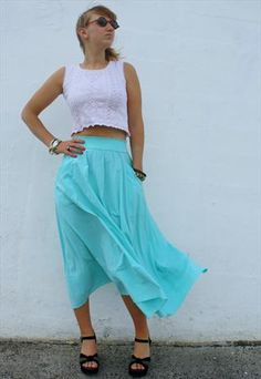 Vintage Long Skirt Turquoise £18  Uk Size 12