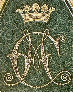 Consuelo Vanderbilt | Stamp of Consuelo Spencer-Churchill, Duchess of Marlborough. Dimensions: 48 x 38 mm. Monogram: C M. Coronet: Duchess.  British Armorial Bindings via University of Toronto.