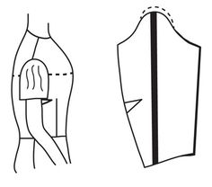 Illustration depicting pattern of bodice alteration of bodice for large arm alteration for large arm