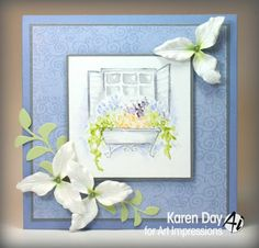 Art Impressions Rubber Stamps: Ai Wonderful Water Color: Open Window (Sku #4608): handmade watercolor card.
