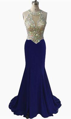 Mermaid Prom Dress Long 2019 Royal Blue Evening Dress Chiffon Formal Party Gowns  O Neck Sleeveless b9f643e1e216