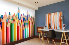 Coloured pencil crayons wall mural