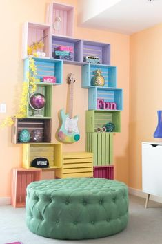 Wooden Crates Ideas - If you have to use crates for your private usage, then there are various places that you could procure them from, legally. Wooden crates are the best . by Joey Crate Desk, Crate Storage, Record Storage, Storage Boxes, Book Storage, Decoration Creche, Cute Dorm Rooms, Wood Crates, Wood Crate Shelves
