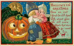 Beware of boys who want to makeout in the Pumpkin Patch!!  Charmingly cute vintage Halloween greetings. #vintage #Halloween card