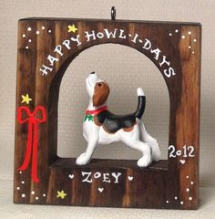 Beagle Hound Dog Personalized Christmas Ornament SHIPS IN 24 HOURS on Etsy, $15.00