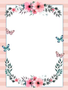 6 inspirational mini posters for the classroom Boarders And Frames, Party Set, Invitation Background, Watercolor Plants, Floral Border, Flower Backgrounds, Note Paper, Writing Paper, Flower Frame
