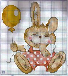 Hobby lavori femminili - ricamo - uncinetto - maglia: Coniglietto con palloncino a punto croce